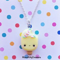 Kawaii Polymer clay Popsicle charm by MomoKittyCreations on Etsy