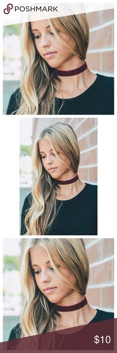 """Burgundy Choker Necklace, Bohemian Necklace This listing is for a burgundy Choker necklace. Bohemian necklace. Boho chic necklace. Lobster clasp closure. Adds a little """"babum"""" to any outfit! Jewelry Necklaces"""