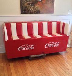 coca cola home furnishings Vintage Coca Cola, Cafe Bench, Couch Furniture, Couch Sofa, Coca Cola Decor, Coke Machine, Coca Cola Kitchen, Always Coca Cola, World Of Coca Cola