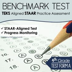 4th Grade Benchmark TEKS & STAAR Aligned Practice Assessment | Test Form A This resource has been designed to provide teachers and students with meaningful and targeted practice of the 4th-grade mathematics standards. This standardized test formatted assessment closely aligns with the TEKS and is formatted like the STAAR.The assessment provides students the opportunity to become more familiar with the STAAR testing format and how student expectations (TEKS) are tested. Math Resources, Math Activities, Staar Test, Progress Monitoring, Elementary Math, Mathematics, Assessment, Curriculum, Math