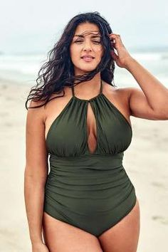 Olive Halter Plus Size One Piece Swimsuit – Cupshe Plus Size One Piece, Looks Plus Size, One Piece For Women, Plus Size Bikini, Plus Size Swimsuits, Cheap Swimsuits, Women Swimsuits, Sexy Bikini, Bikini Tops