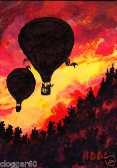 Hot Air Balloon painting at Sunset.  Available paintings can be seen in my ebay store: Pat-Adams-Art-Paintings-and-Photos