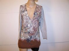 LYDIA HIRSCHER Sweater Tunic Top M Gray Floral V-Neck Sample NEW #LydiaHirscher #Tunic #Casual