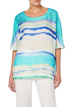 Sahara Ombré Stripe Linen Easy Top