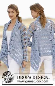 Knitting Patterns Sweter Spring Bliss – Crochet DROPS jacket in 'Paris' with lace pattern. Cardigan Au Crochet, Gilet Crochet, Crochet Coat, Crochet Jacket, Crochet Cardigan, Crochet Scarves, Crochet Shawl, Crochet Clothes, Free Crochet
