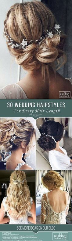 30 Stunning Wedding Hairstyles Creation of wedding hairstyle needs preparation. It'd be great if bride can make a trial version. Hope our collection helps to make a right choice. See more www.weddingforwar... #wedding #hairstyles #bridalhairstyles #weddinghairstyleseveryhairlength