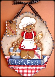 by Pamela House Gingerbread Crafts, Gingerbread Man, Tole Painting, Painting On Wood, Pintura Country, Different Holidays, Country Paintings, The Night Before Christmas, Cold Porcelain