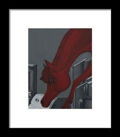 Horse Painting Framed Print featuring the painting Reading Horse by THELLI Helenia Tedesco