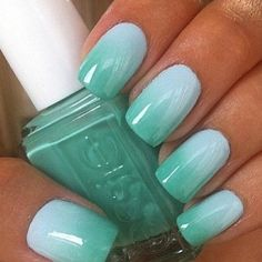 teal gradient nails Essie mint candy apple