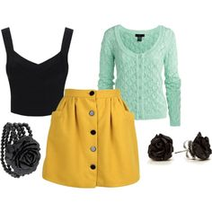 """""""Black, yellow and mint"""" by jenniok on Polyvore"""