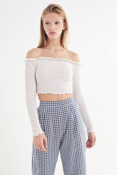 8cebb8d5586 UO Ruffle Off-The-Shoulder Cropped Top | Urban Outfitters Bts Inspired  Outfits,