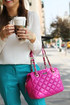 The Everygirls Goes to Fashion Week // editor Marie Marie Kaczmarski // pink handbag, sequin peter pan collar, coffee, new york city, bright pants Pink Handbags, Kate Spade Handbags, Kate Spade Purse, Ladies Handbags, Fendi, Gucci, Fashion Flats, Love Fashion, Womens Fashion
