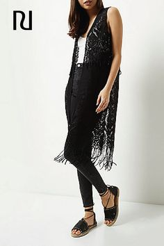 A fringed vest is the perfect way to complete all of your favorite Boho looks for festivals this summer. This black lace and fringe vest will look so trendy overtop your favorite dresses, crop tops, and camis this summer!