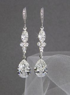 Dangle Crystal Bridal Earrings Wedding earrings by CrystalAvenues