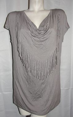 Design History Top Womens Plus Sz 1X Gray Stretch Viscose SS Fringed Tunic Shirt #DesignHistory #KnitTop #Casual