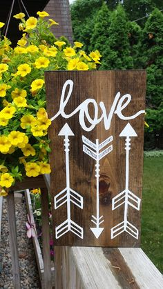"Love with Arrows Sign, Hanging Wooden Arrow Sign, Love Sign, Rustic Love Arrows, 7"" x 14"""