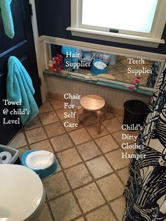 Montessori toddler bathroom, prepared environment for an 18-month-old, Independence building bathroom