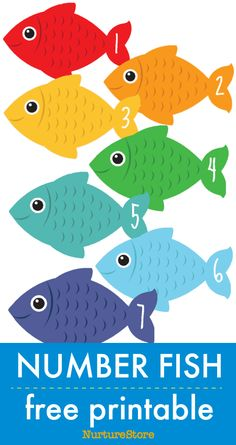 number fish free printable math counting cards