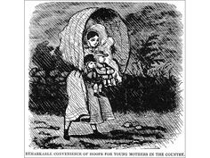 """""""The Remarkable Convenience of Hoops for Young Mothers in the Country"""", by George Cruikshank, Harper's Weekly, 1857."""