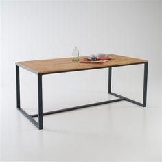 Dimensions de la table de repas noyer massif et acier Hiba :Longueur : 180 cmHauteur : 76 cmProfondeur : 90 cmDimensions et poids du/des colis :1 colisL190,5 x H17,5 x P101,5 cm 40...