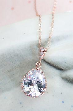 Rose Gold Luxe Cubic Zirconia Teardrop Necklace - Luxe