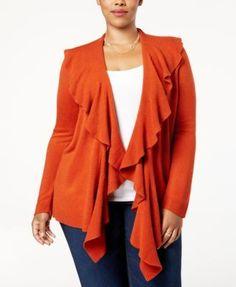 Karen Scott Plus Size Luxsoft Ruffled Cardigan, Created for Macy's - Orange 2X