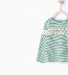 Blond lace striped top-T-shirts-Baby girl-Baby | 3 months - 3 years-KIDS | ZARA United States
