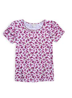 Pumpkin Patch - tops - all over floral puff sleeve top - W4GL11007 - deep claret - 6 to 12
