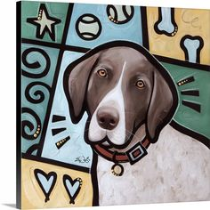"""Make your space even more charming with a print from the Pop Art Dogs Collection. """"German Shorthaired Pointer"""" canvas print by Eric Waugh, available in 6"""" x 6"""" tabletop canvases up to 30"""" x 30"""" canvas wraps at CanvasOnDemand.com."""