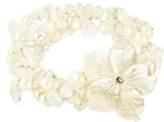 Lita Mother- Of-Pearl Flower With White Fresh Water Pearl Stretch Bracelet on shopstyle.com