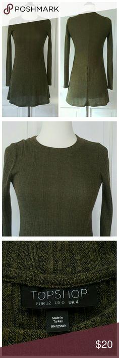 HP 🎉🎉🎉🎉Topshop Knit Tunic Dress🎉🎉🎉🎉 Dark green with black heathering, ribbed knit dress/long tunic. Topshop Dresses Mini
