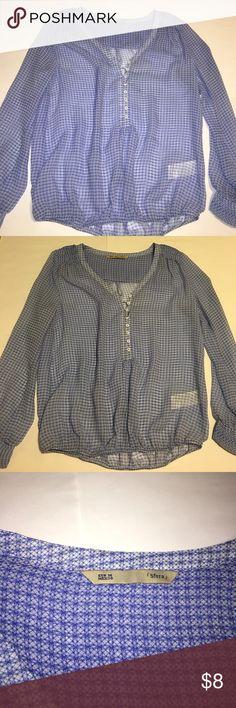 Blue button down blouse Blue sheer button down blouse. Elastic bottom gives good shape! sfera Tops Button Down Shirts