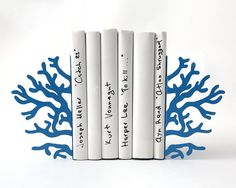 Bookends -Corals Blue edition- unique, stylish and useful decor bookends ($53.20) by Design Atelier Article