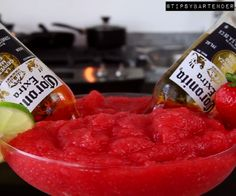 Strawberry Bulldog Margarita - For more delicious recipes and drinks, visit us here: www.tipsybartender.com