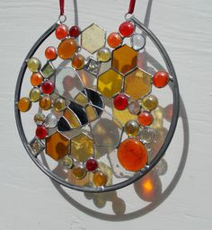 Stained Glass 'Large Bee Hive' Sun Catcher,Window/ Wall Art,Mixed Orange,Yellow…