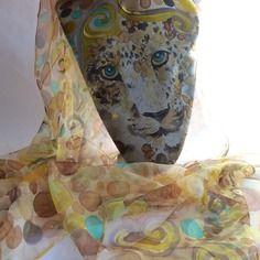 """Etole écharpe foulard en mousseline de soie peint main """" oeil de…"""