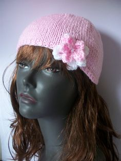 Hand Knitted Cloche Hat with Daisy Flower by thekittensmittensuk, £14.00