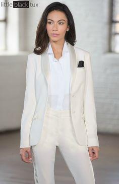 Women's Ivory Diamond White Tuxedo / Ladytux. Shawl Collar, slim fit, belt loops, satin lapel, female tuxedo, suit tux, jacket blazer. Wedding, engayged, bridesmaids, black tie.