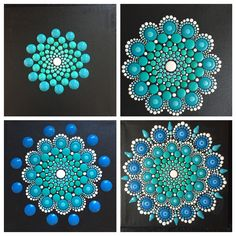 Pasos para dibujar mandala con puntillismo paint ideas точечная живопись, м Dot Painting Tools, Dot Art Painting, Rock Painting Designs, Pebble Painting, Painting Patterns, Pebble Art, Mandala Design, Mandala Pattern, Mandala Painted Rocks
