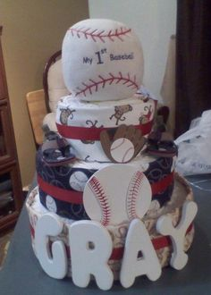 A diaper cake for your little ball player! Baseball Diaper Cake