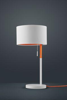 Trio Leuchten Tischleuchte LANDOR, weiß, Stoffschirm weiß / innen orange 501400101: Amazon.de: Beleuchtung