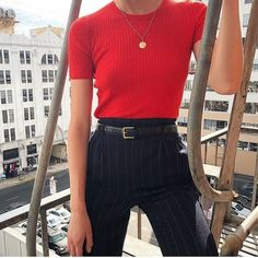 nautical look with pinstripe pants high waisted and crew neck red blouse tee for.nautical look with pinstripe pants high waisted and crew neck red blouse tee for office or work wear Look Fashion, 90s Fashion, Fashion Outfits, Fashion Vintage, Vintage Outfits, Casual Outfits, Cute Outfits, Pinstripe Pants, Striped Pants