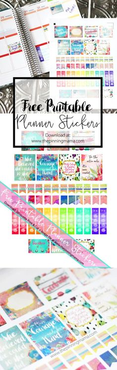 Free Erin Condren Planner Stickers- These watercolor stickers are TO-DIE-FOR! Free Silhouette CAMEO print and cut file and image file. To Do Planner, Free Planner, Planner Pages, Erin Condren Life Planner, Happy Planner, Planner Ideas, Passion Planner, Weekly Planner Printable, Printable Planner Stickers