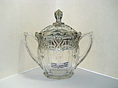 U S Glass Athenia Sugar Bowl With Lid