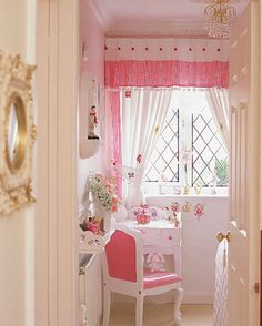 Girl's Pink Bedroom - Home Gallery Design Decor, Room, Pink Curtains, Interior, Pink Girl Room, Room Inspiration, House Interior, Bedroom Inspirations, Pink Bedroom For Girls