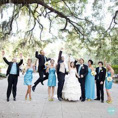 The wedding party ~ bright blues really pop against the beautiful Savannah trees! http://blog.jadeandmatthew.com/?p=8321#