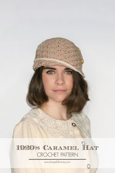 1920s Caramel Cloche Hat - Free Crochet Pattern :  I made it in a lavender with a dark blue border and its stunning