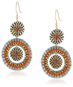 Love The Effect Of Inside Colored Gl Beads Miguel Ases Olivine Hydro Quartz Open Circle Dangle Drop Earrings Jewelry
