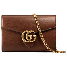 Gucci Gg Marmont Leather Mini Chain Bag (29 340 UAH) ❤ liked on Polyvore featuring bags, wallets, accessories, brown, women, brown bag, chain wallet, gucci bags, brown leather bag and leather chain wallet