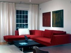 maybe not in a red color but i am totaly digging the look of that sectional. large red sofa idea for modern living room Red Sofa Idea for Contemporary Living Room Red Couch Living Room, Red Living Room Decor, Fresh Living Room, Living Room Colors, Living Room Interior, Living Room Designs, Living Rooms, Red Sectional Sofa, Red Couches